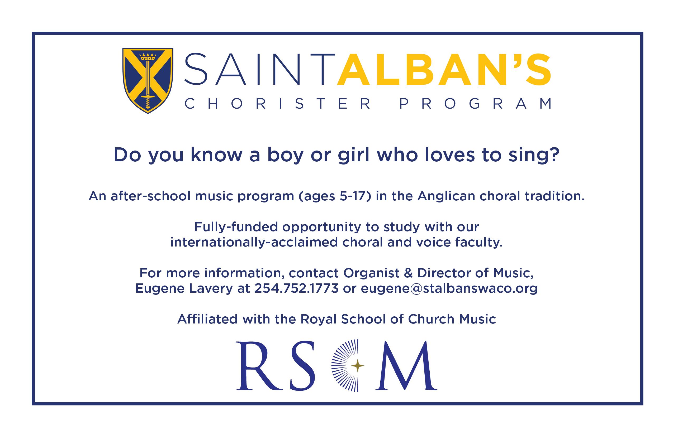 Chorister Program 2020 Publicity